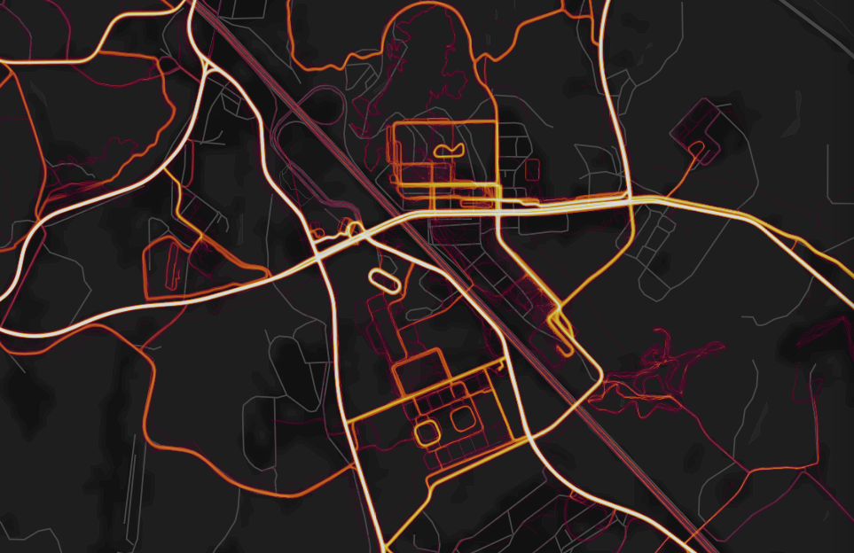 Fitness tracking app's map reveals movement patterns on remote military bases