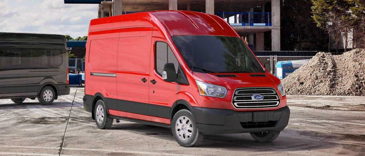 A Ford Transit In Red Courtesy Of