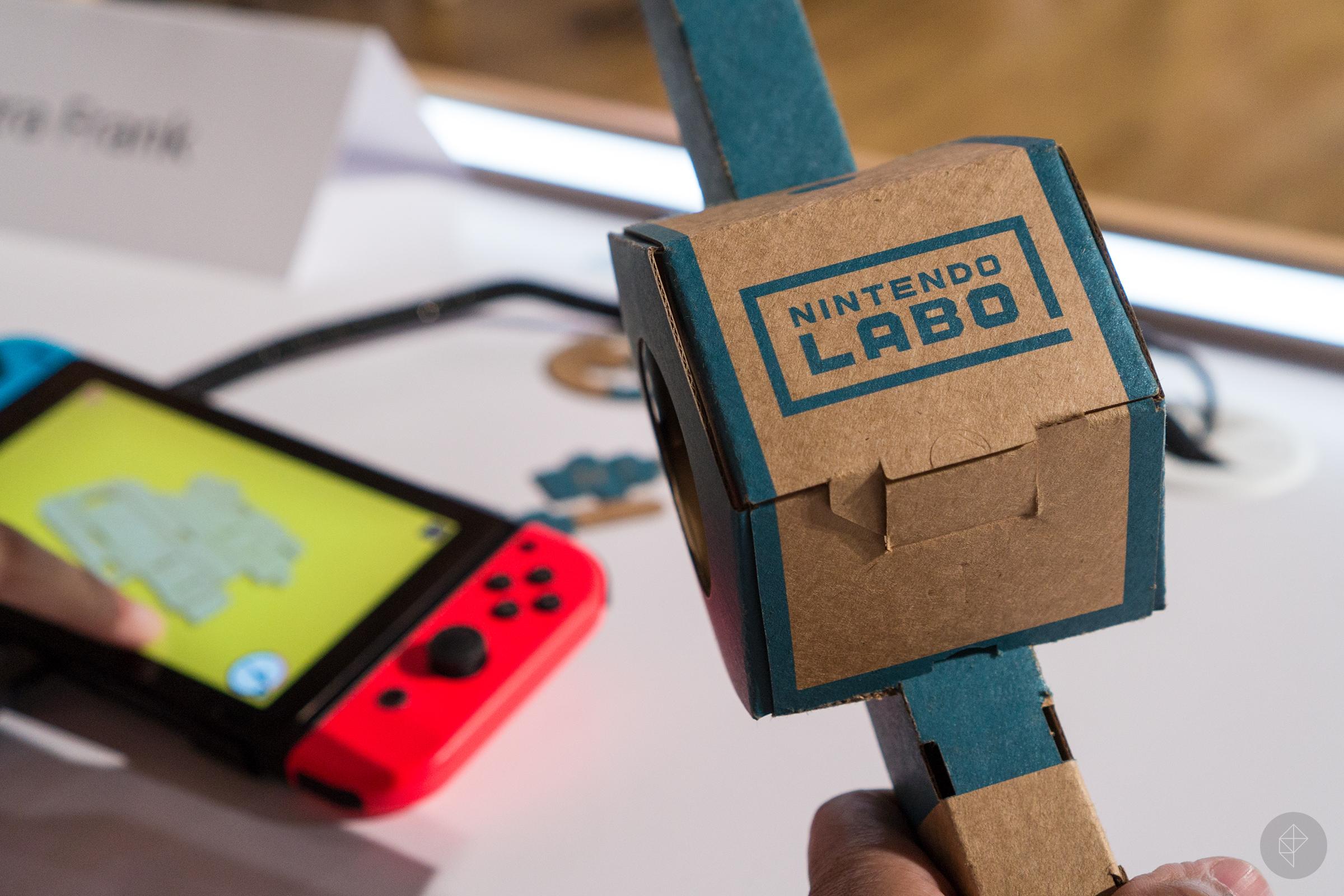 Nintendo Labo - terminate-up of fishing reel underneath building