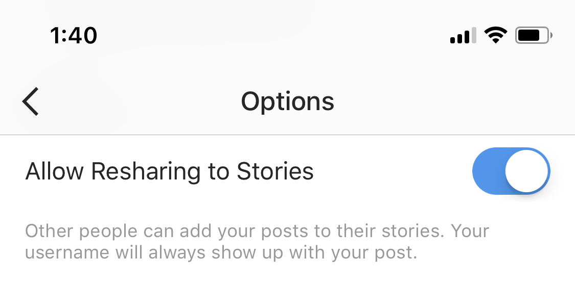 Instagram reshare option
