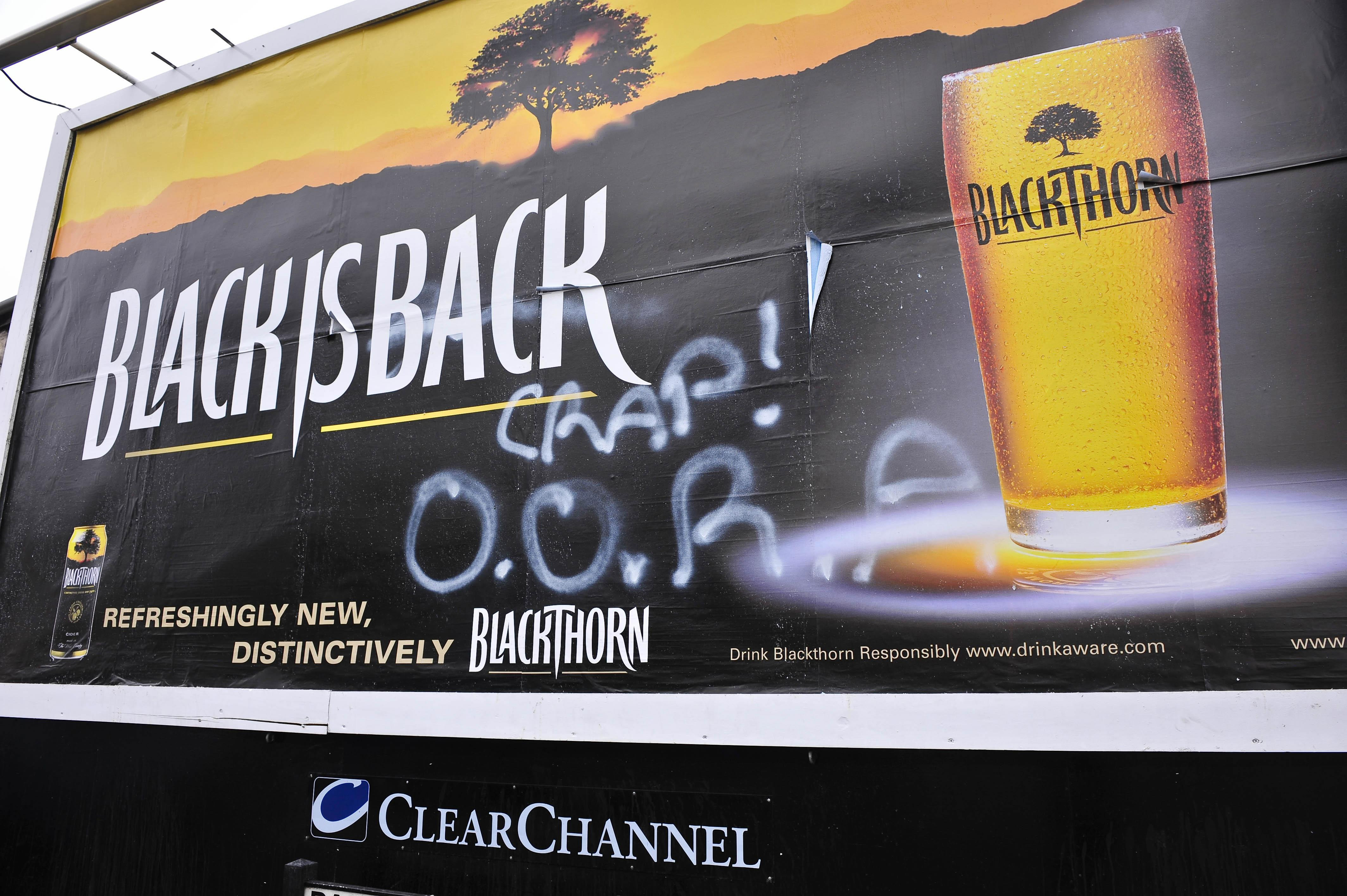 Blackthorn cider billboards defaced