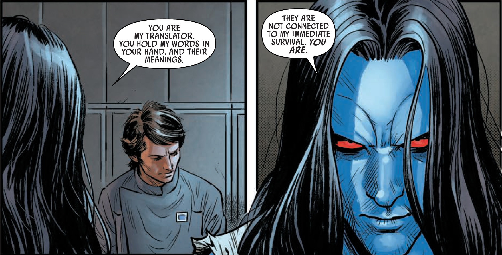 A withdrawn Eli Vanto chats with an ominous, long-haired Thrawn