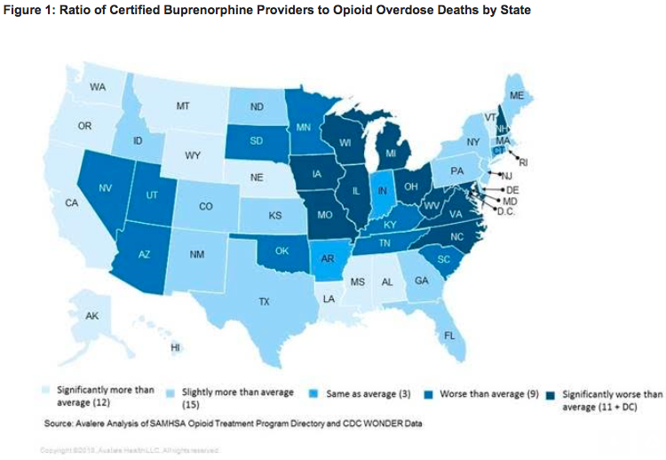 A map comparing access to buprenorphine providers versus opioid overdose deaths.