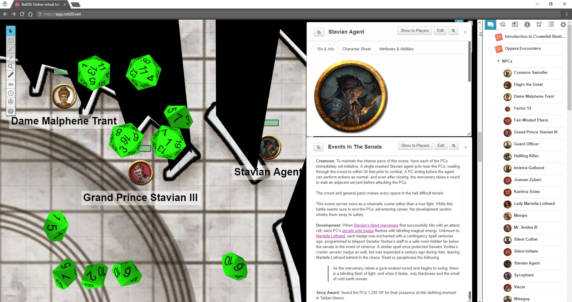 Pathfinder on your tablet and in your browser, complete with dice