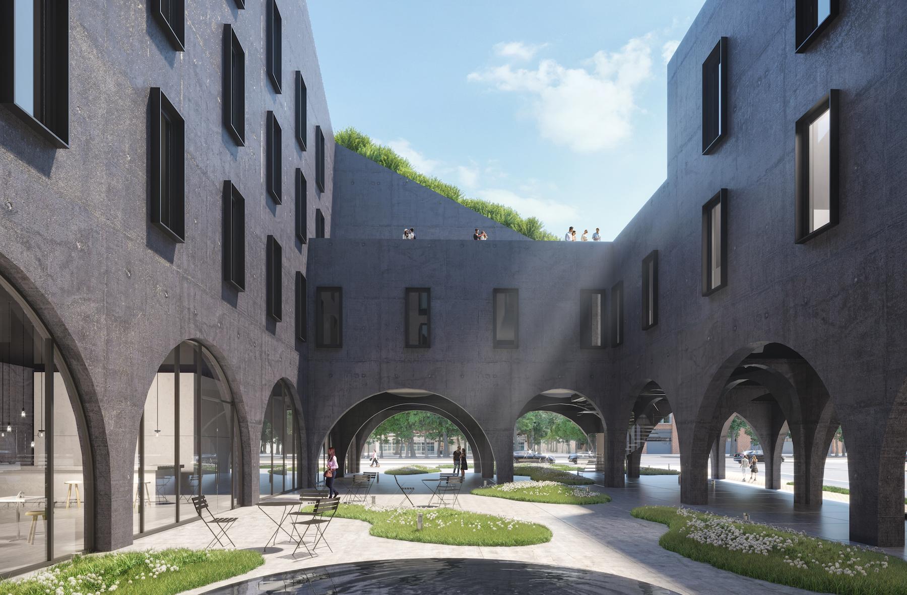 ODA New York unveils minimalist concrete hotel for Crown Heights