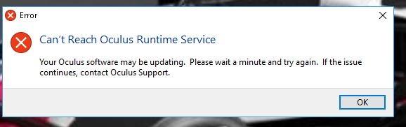 Can't Attain Oculus Runtime Provider error message