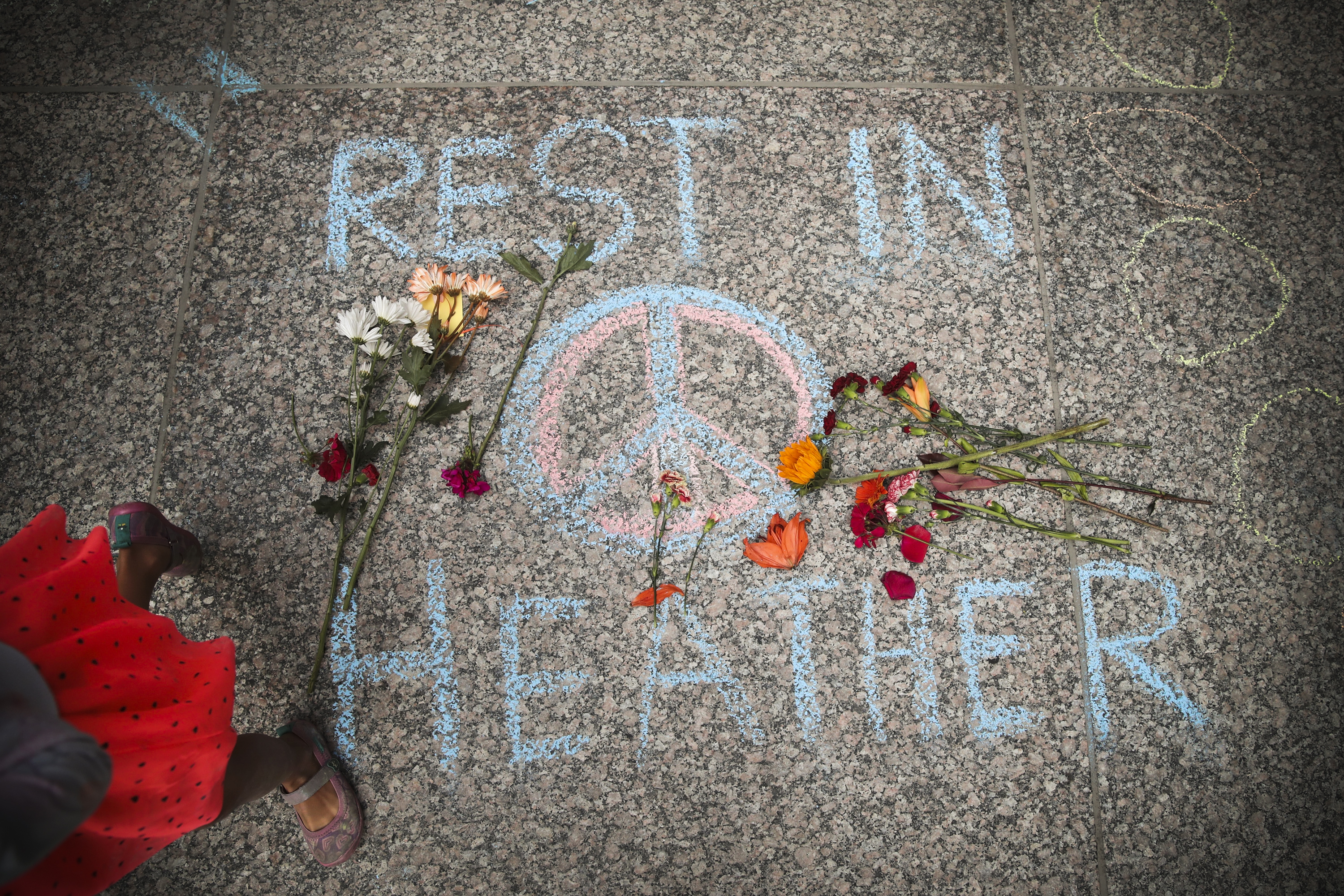 A memorial to Heather Heyer that was chalked on the pavement during a demonstration on August 13, 2017 in Chicago, Illinois.
