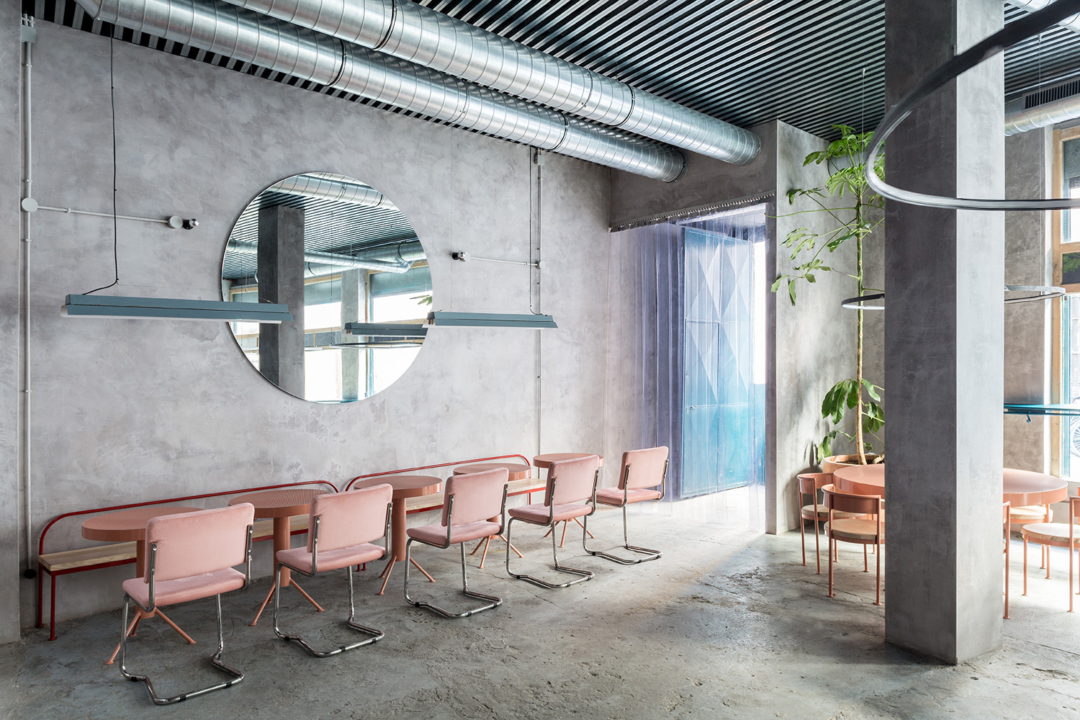 New restaurant serves up gorgeous mix of concrete, pastels, and circles