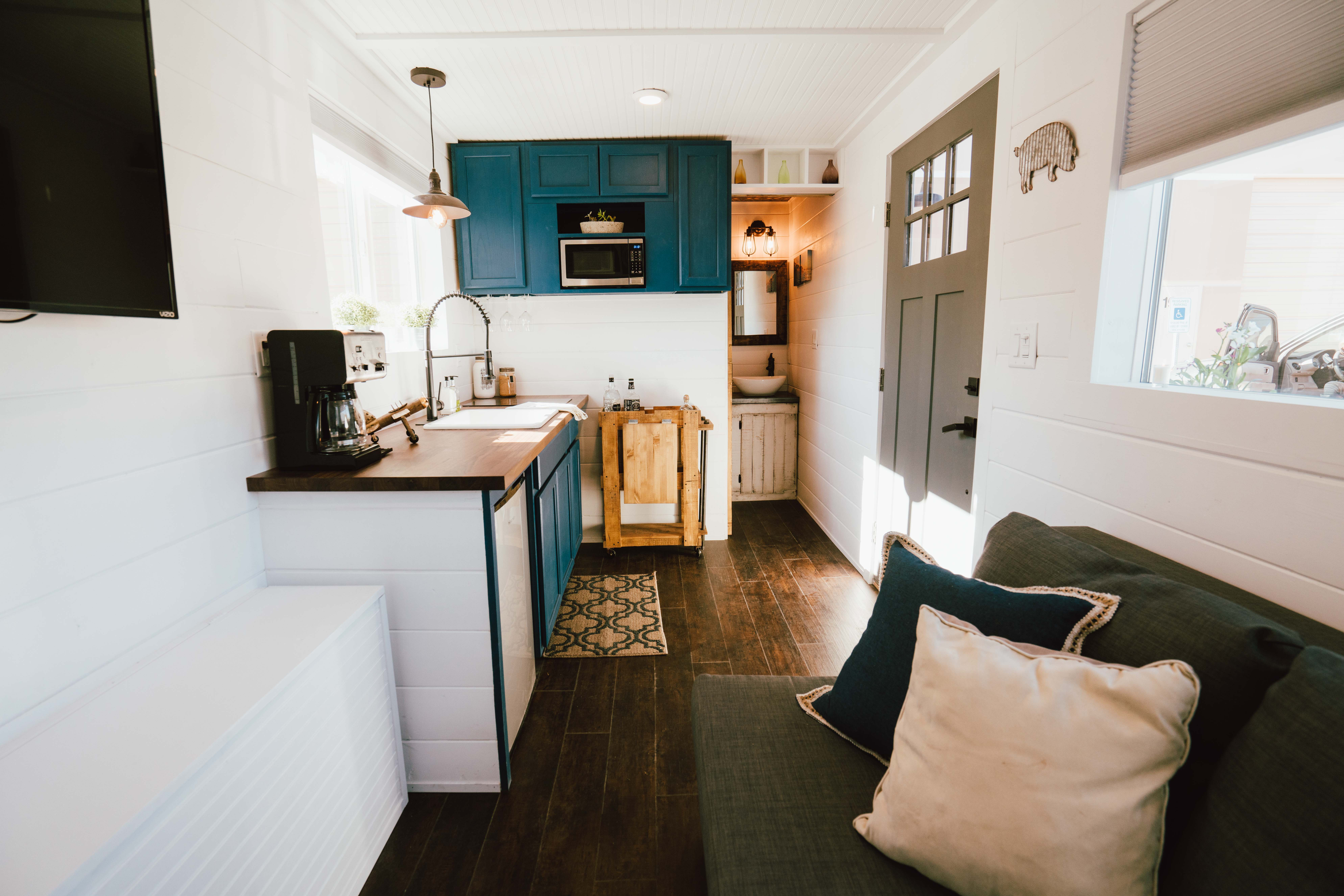 The Kitchen And Living Room Area Of The Shipping Container House In Zion.  Courtesy Of Alternative Living Spaces