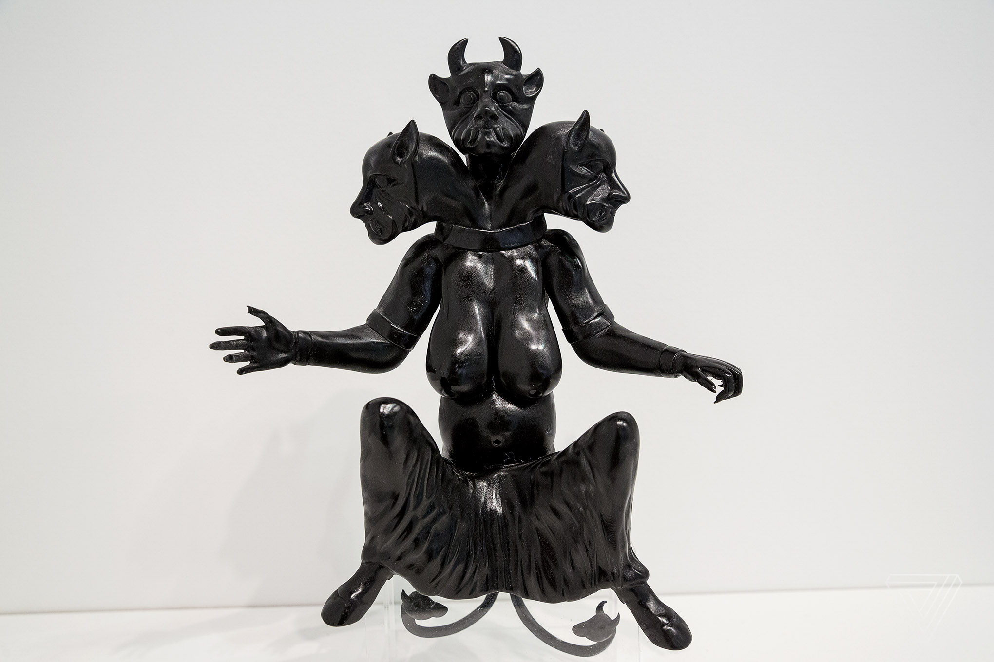 "3D printed in resin, the Huma (2017) sculpture stands at 12 inches tall. Huma is said to ""bring heat to the human body and is a symbol of high temperature, madness and hallucination."" The figure on view as part of Morehshin Allahyari's project, She Who See's The Unknown at the Upfor Gallery booth at the Armory Art Fair in New York City."