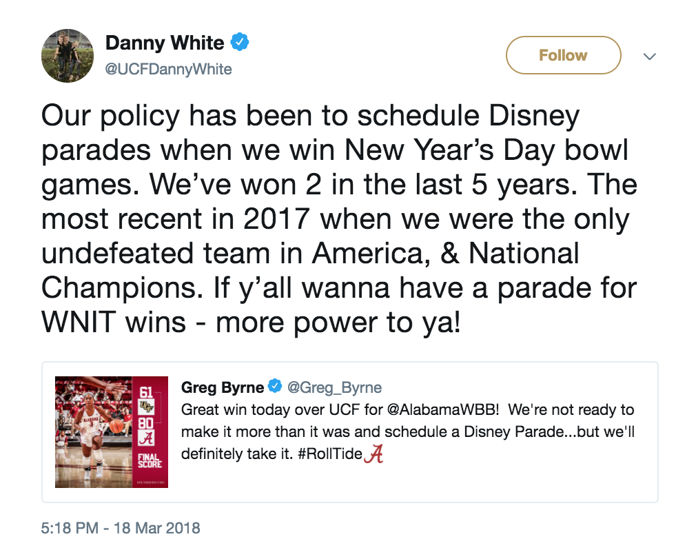Alabama AD throws major shade at UCF after women's basketball win