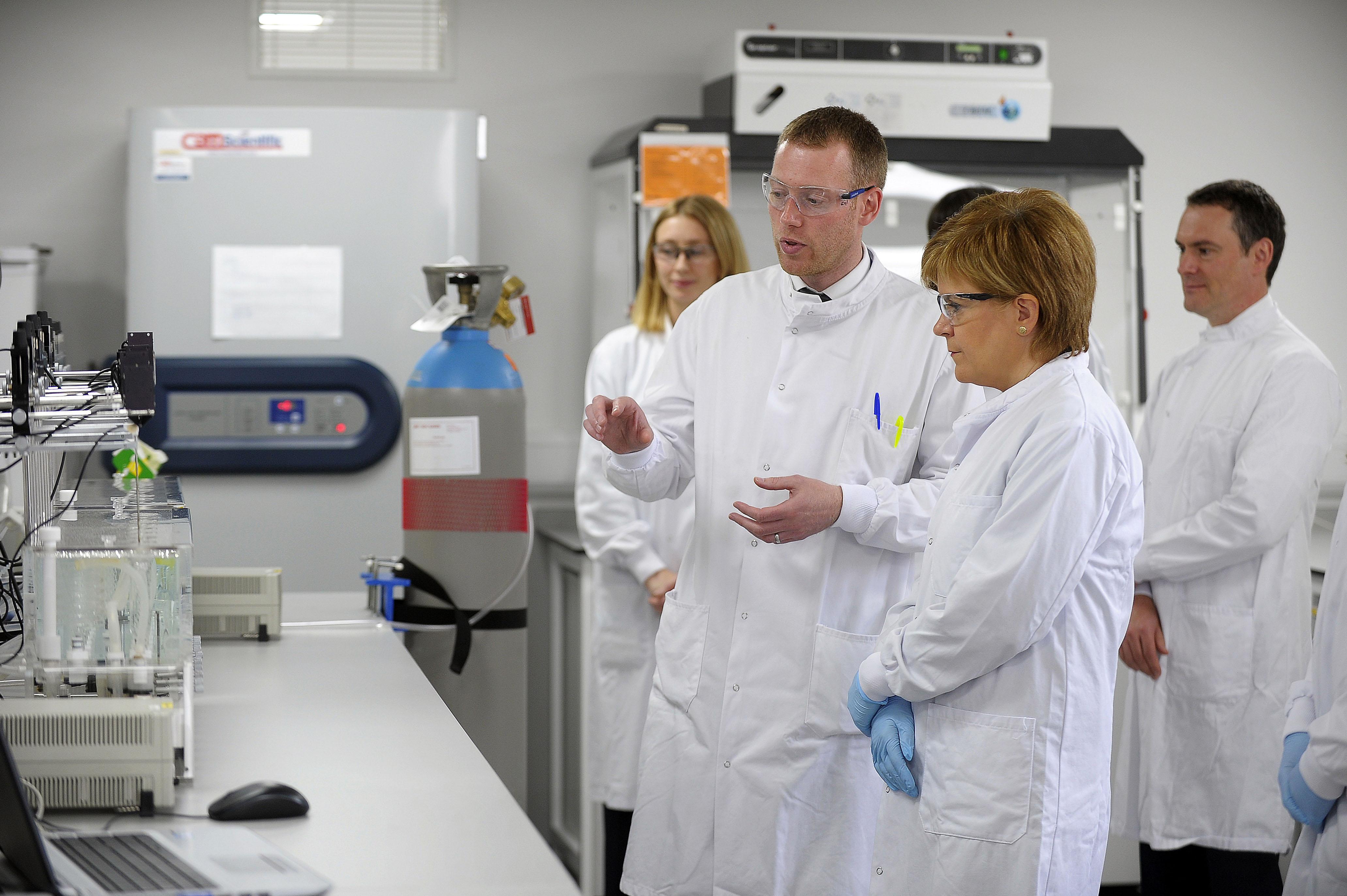 Nicola Sturgeon Visits A Life Science Laboratory