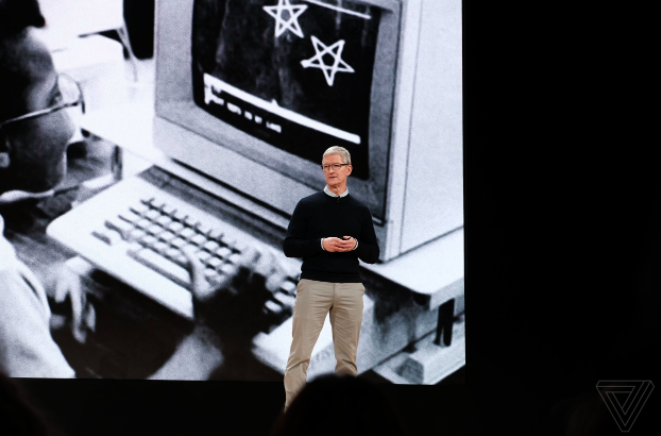 Apple CEO Tim Cook at the company's product-unveiling event in Chicago