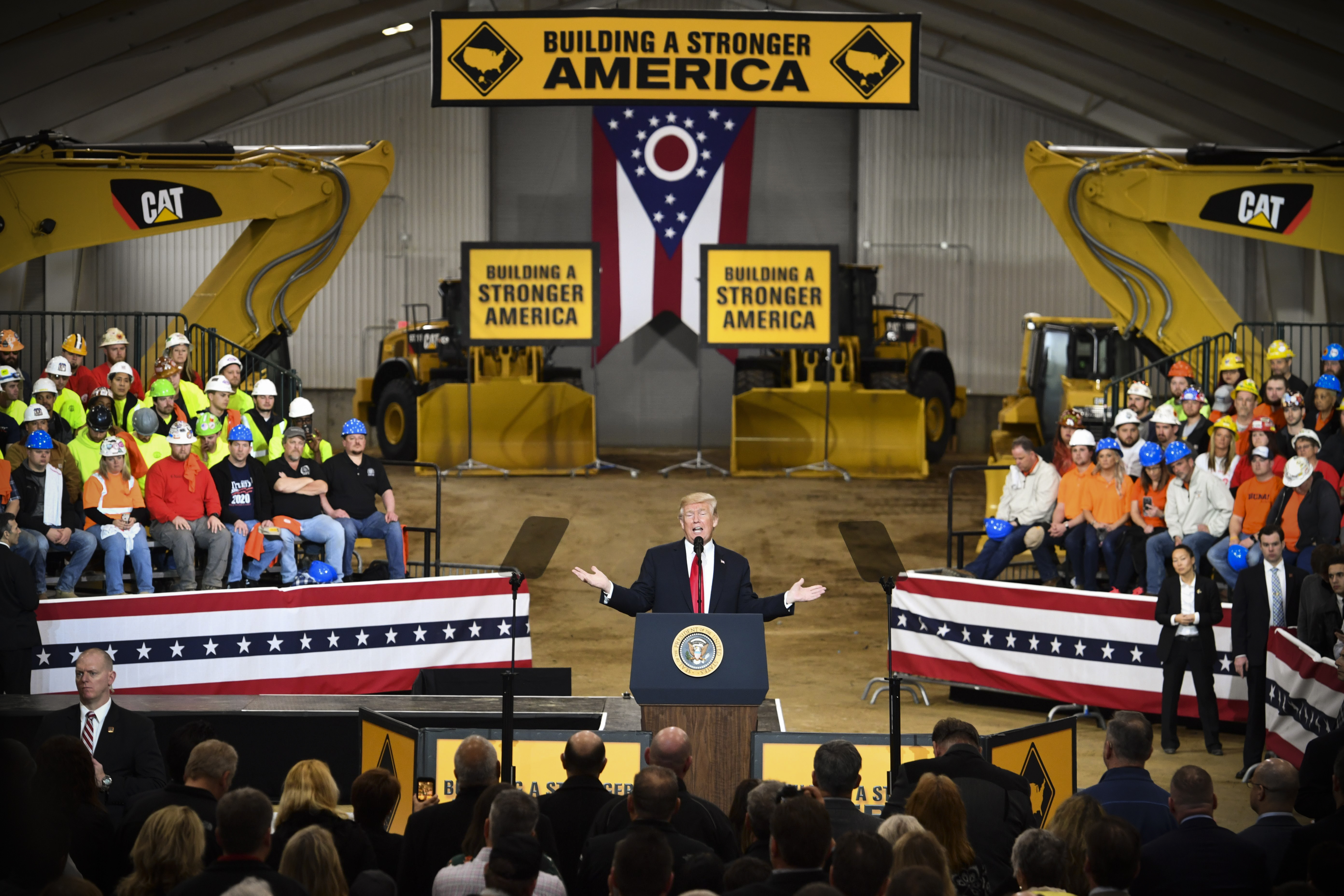 President Trump held a rally discussing infrastructure development at the Richfield Training Site, south of Cleveland, Ohio on March 29, 2018.