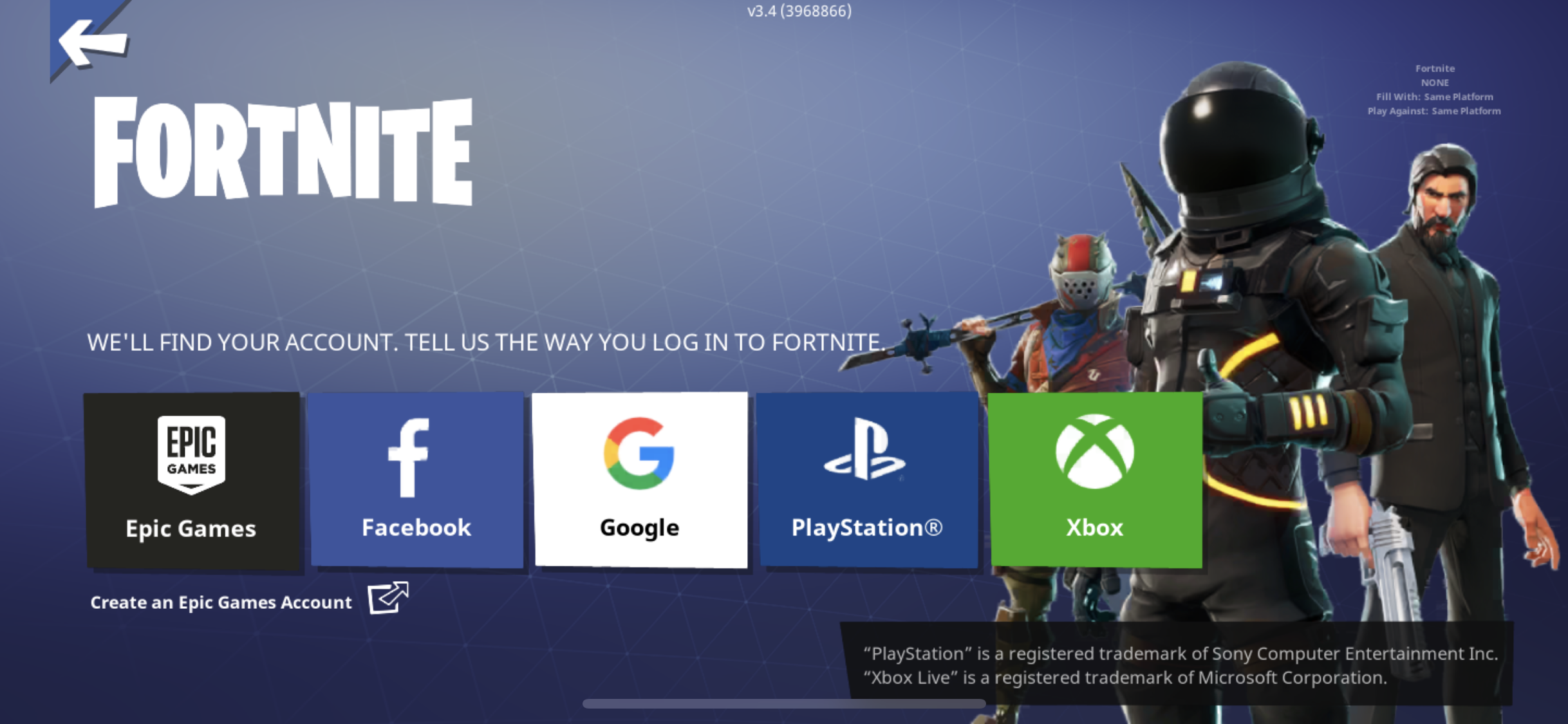epic game launcher login