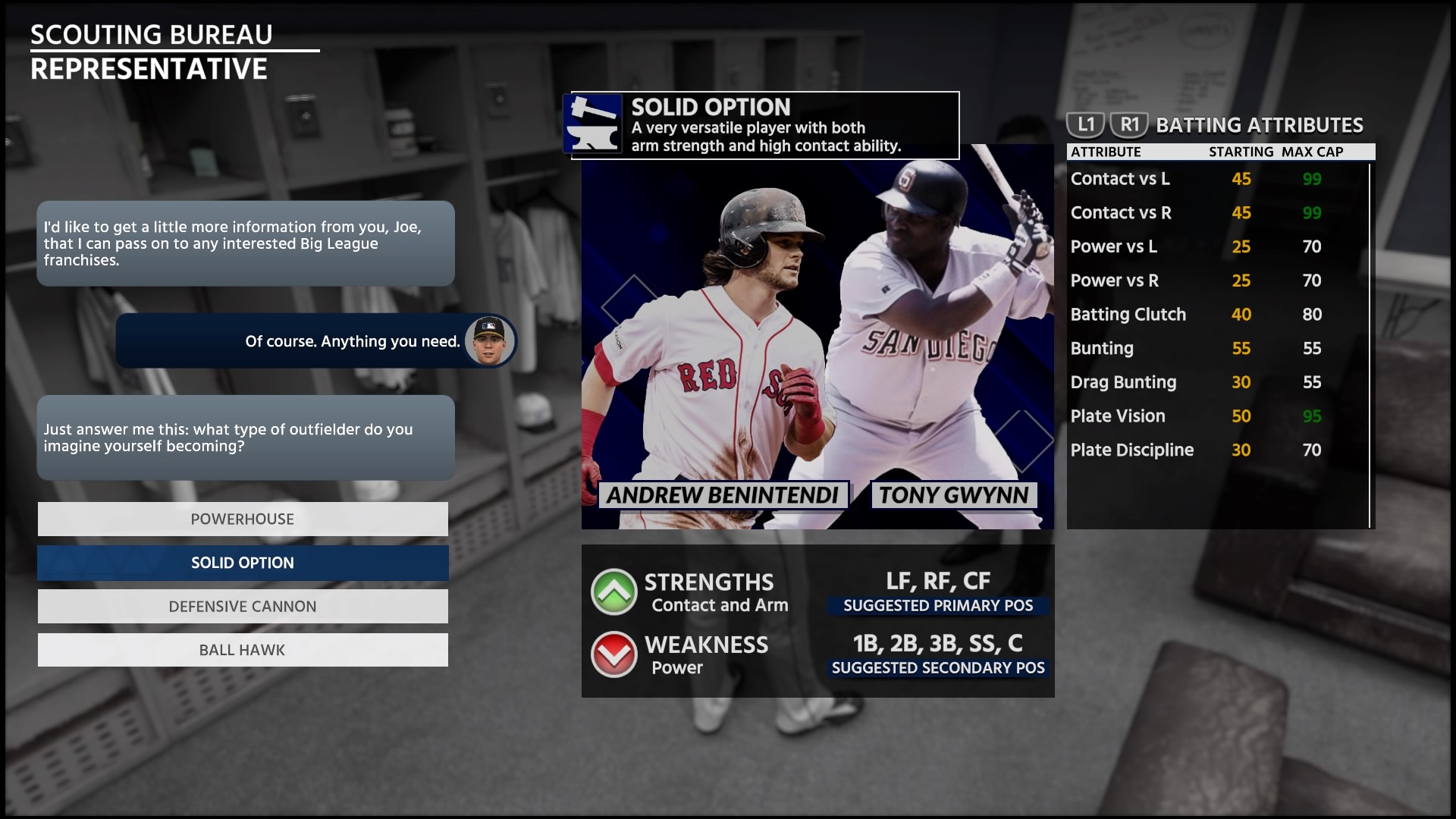 Solid Option batting attributes San Diego Studio/Sony Interactive  Entertainment