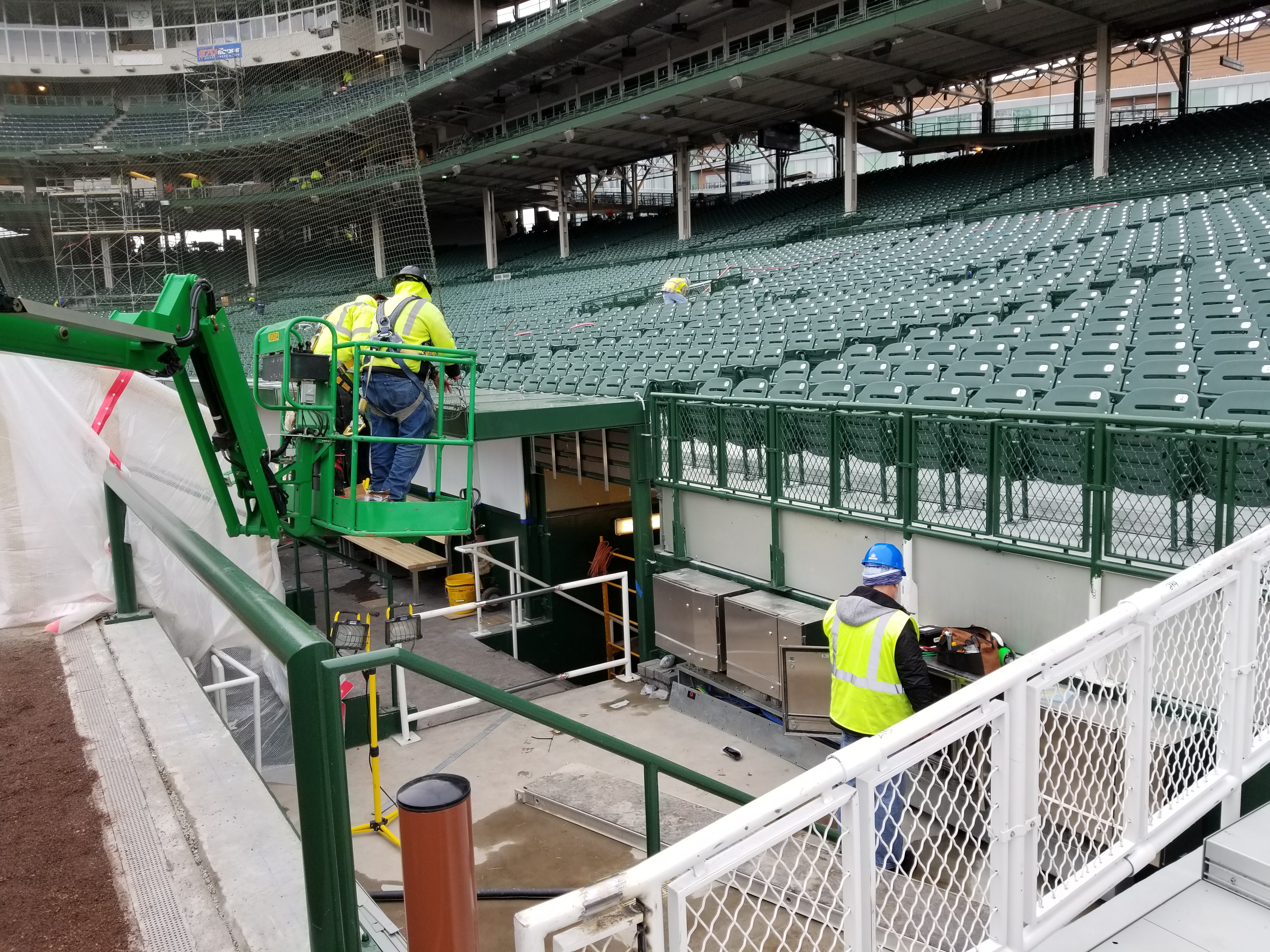 grapher TV camera area adjacent to third base dugout Al Yellon