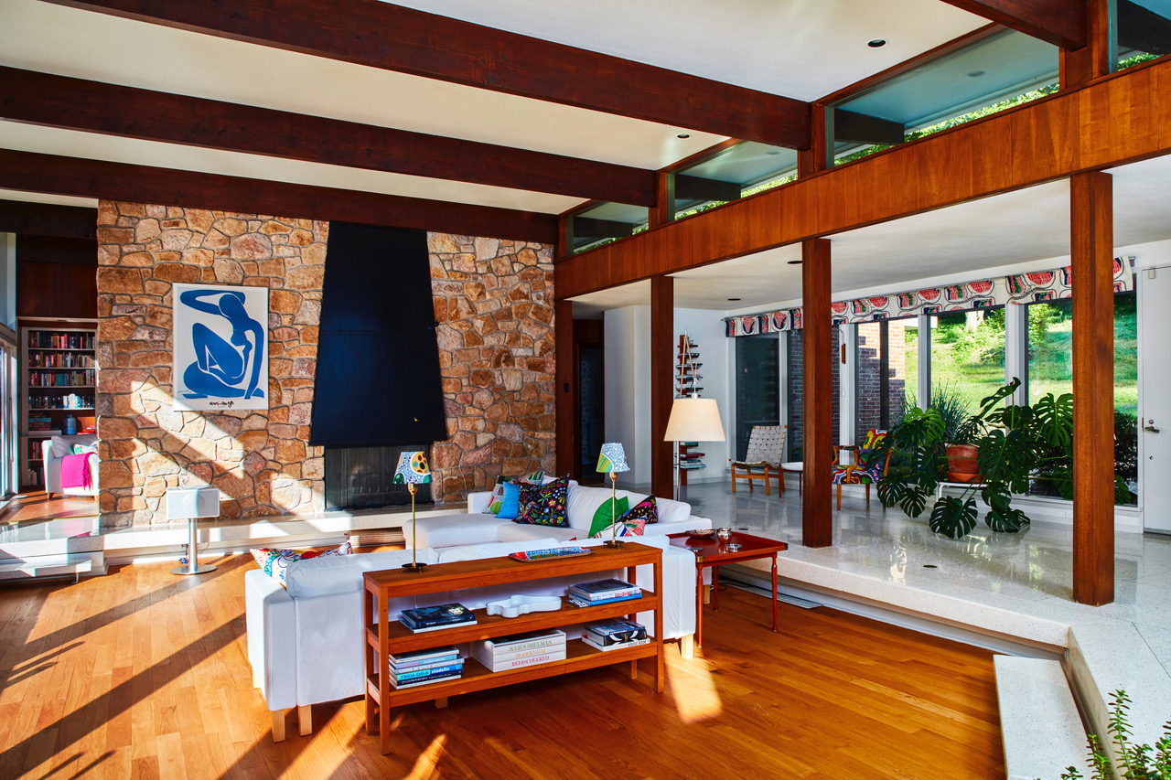 There Are A Number Of Other Unique Design Elements Around The Home,  Including A Stone Wall With A Fireplace, Which Takes Center Stage In The  Living Room.