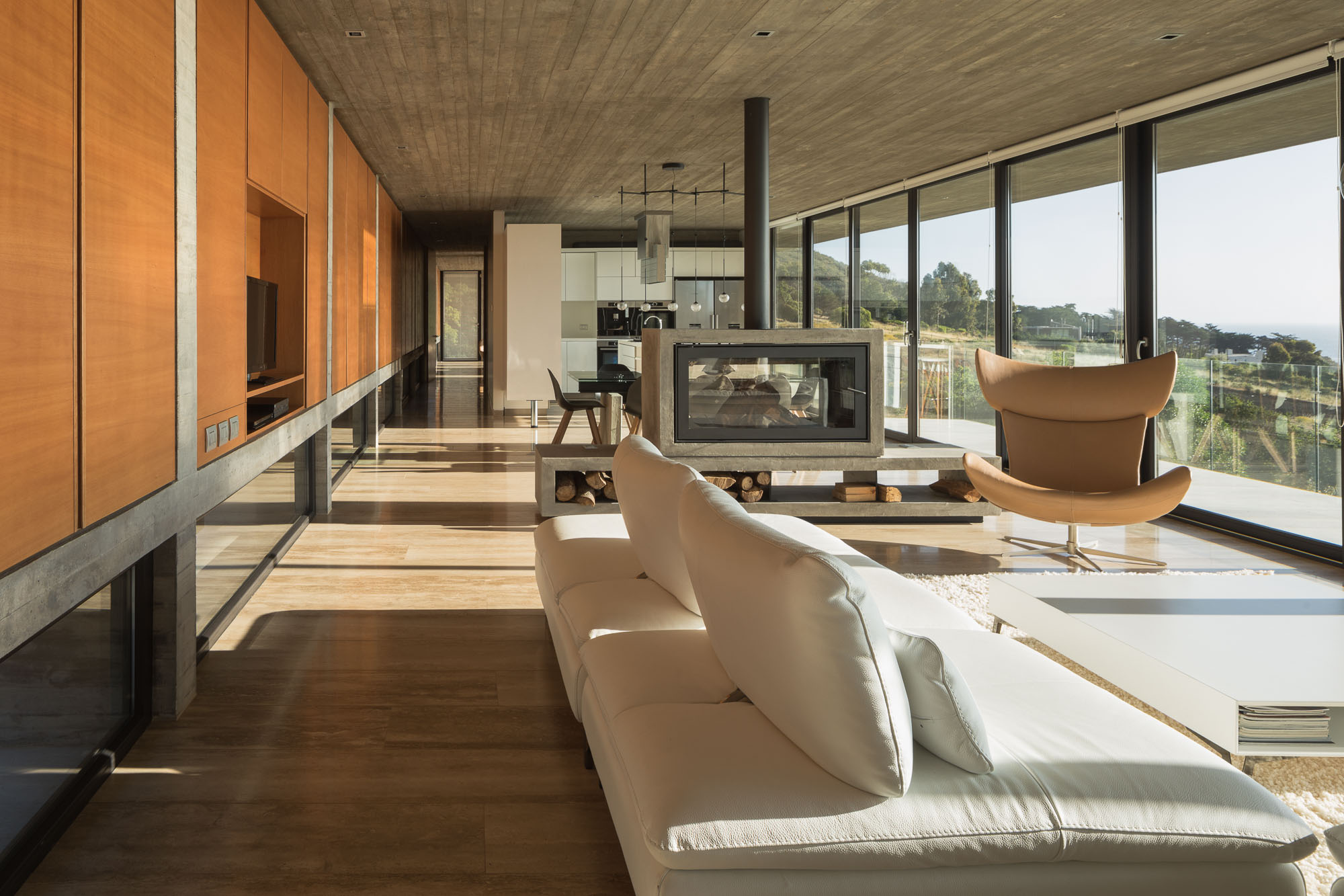 Hillside modern house is all concrete, glass, and views