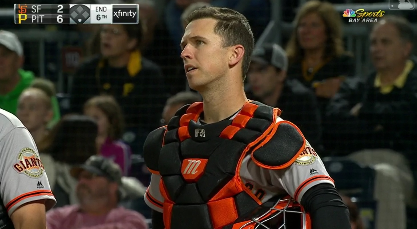 Andrew Mccutchen Threw Out Colin Moran At Home Plate And The Replay