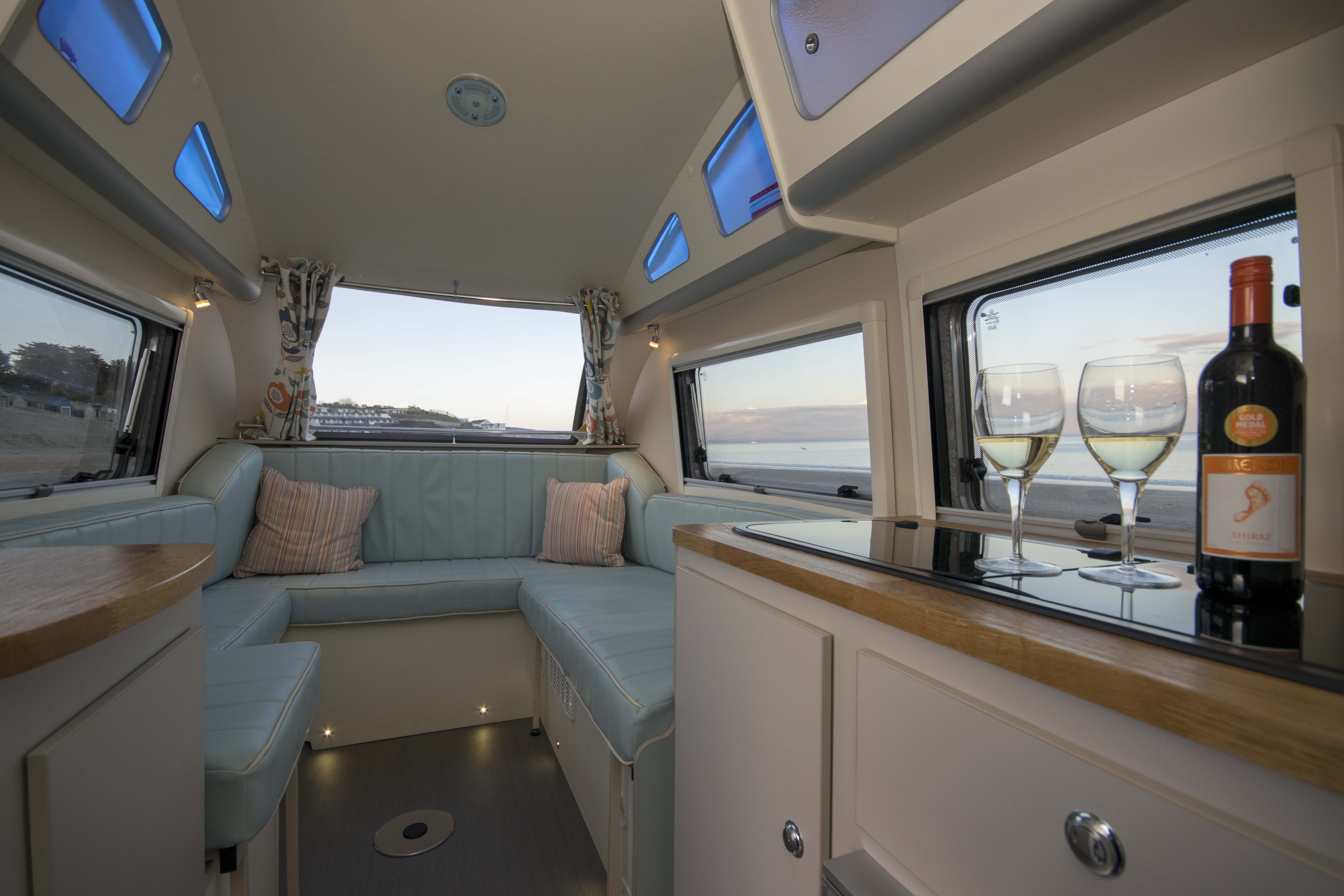 Retro-inspired camper combines curves with modern amenities