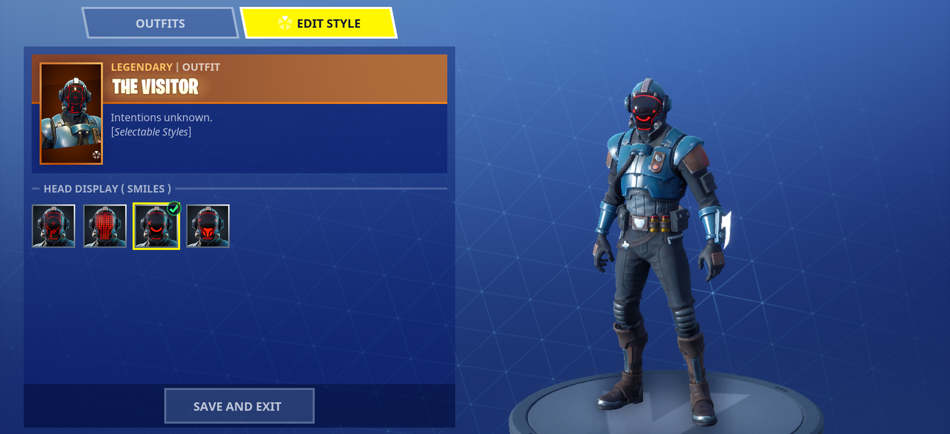one of the visitor s alternate face masks epic games - fortnite 1st season skins