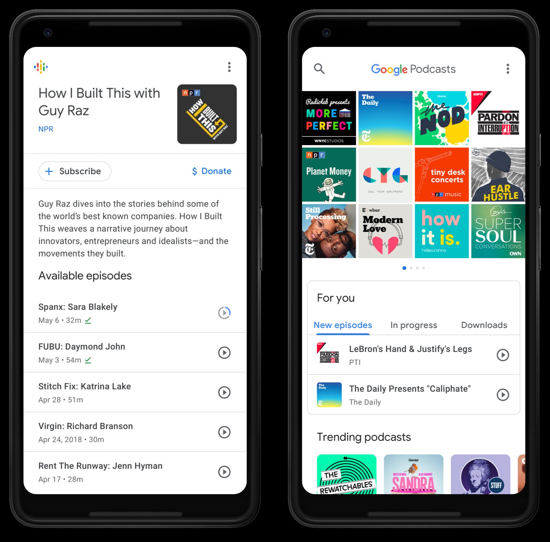 L'app Google Podcasts per Android