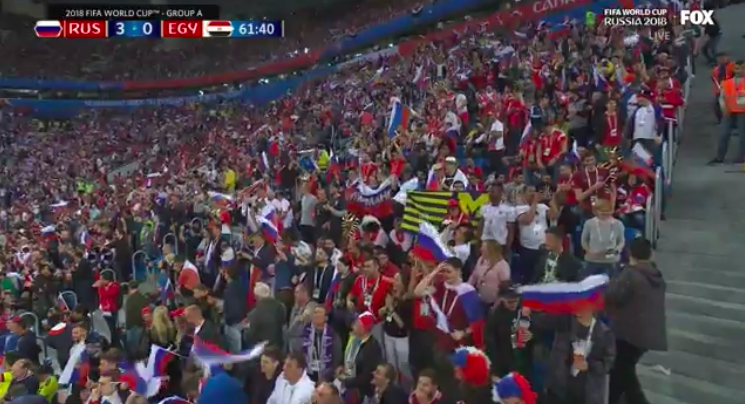 Americans keep bringing college flags to World Cup games