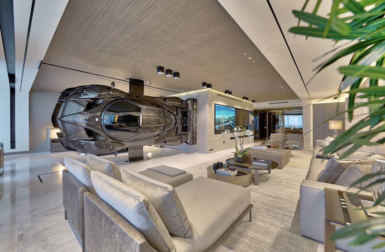 This Miami condo features a $1.5M Pagani Zonda race car as a room divider