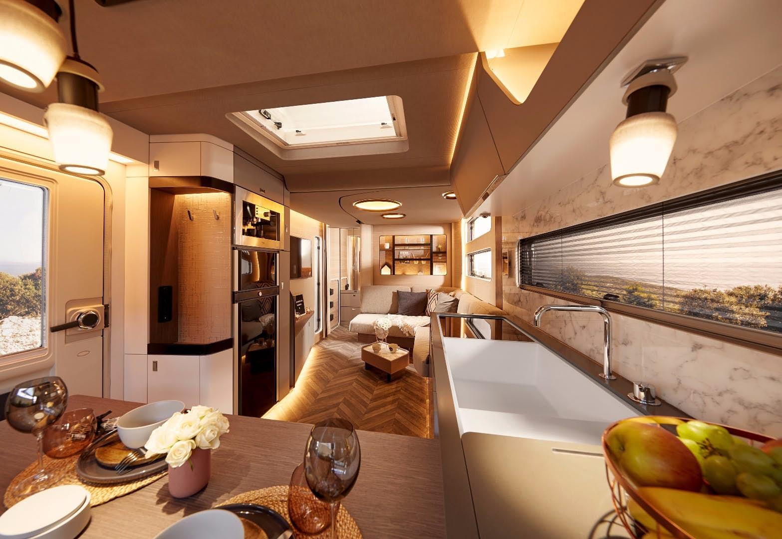 Chic camper-trailer includes drop-down queen bed
