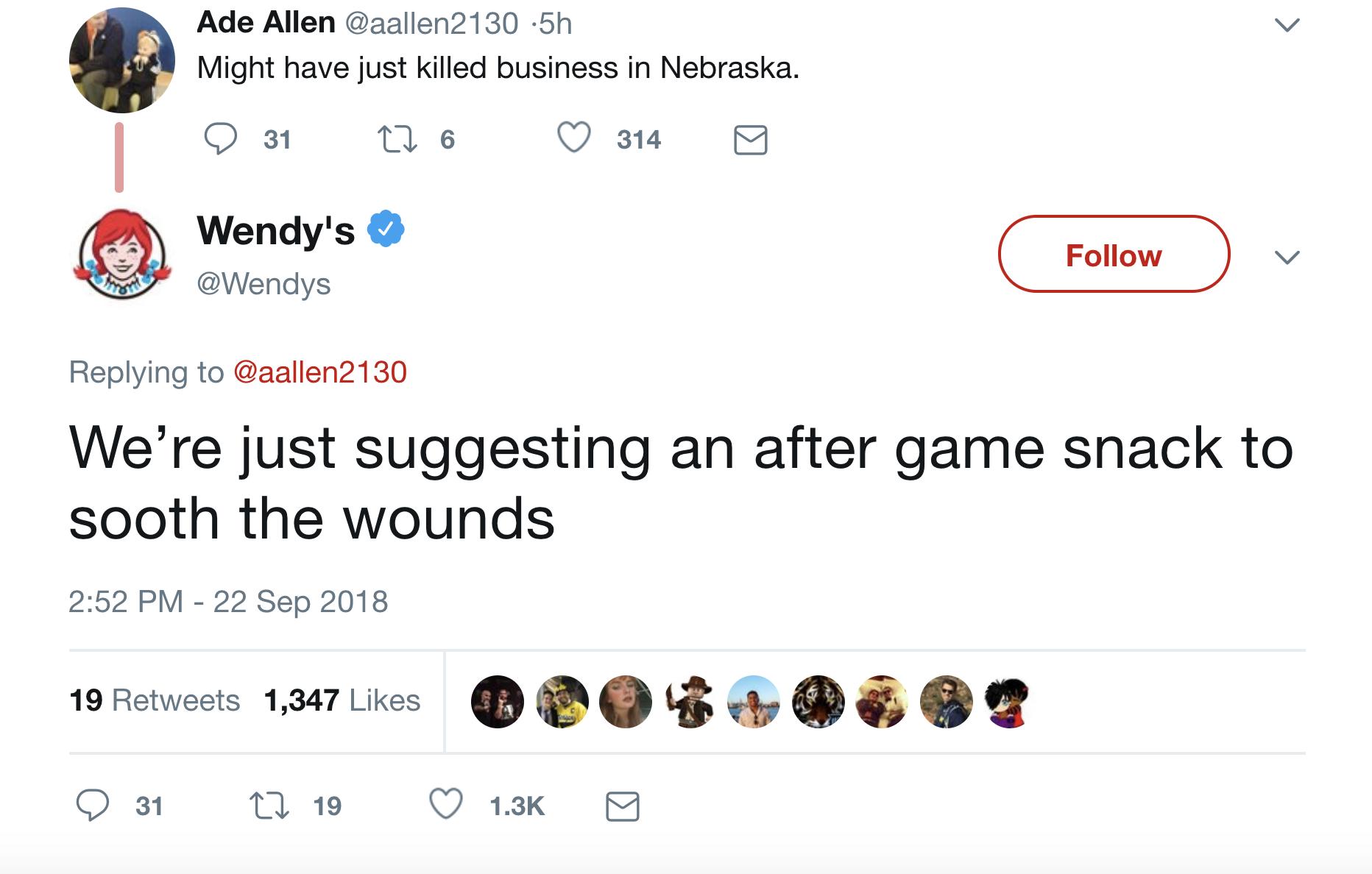 49de3f42795 Wendy s roasts Nebraska on Twitter during loss to Michigan - The ...