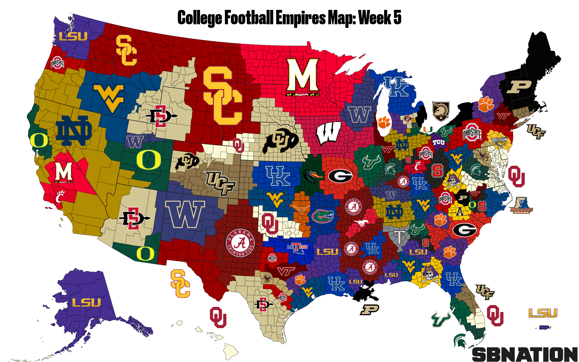 the college football empires map where florida is now the land