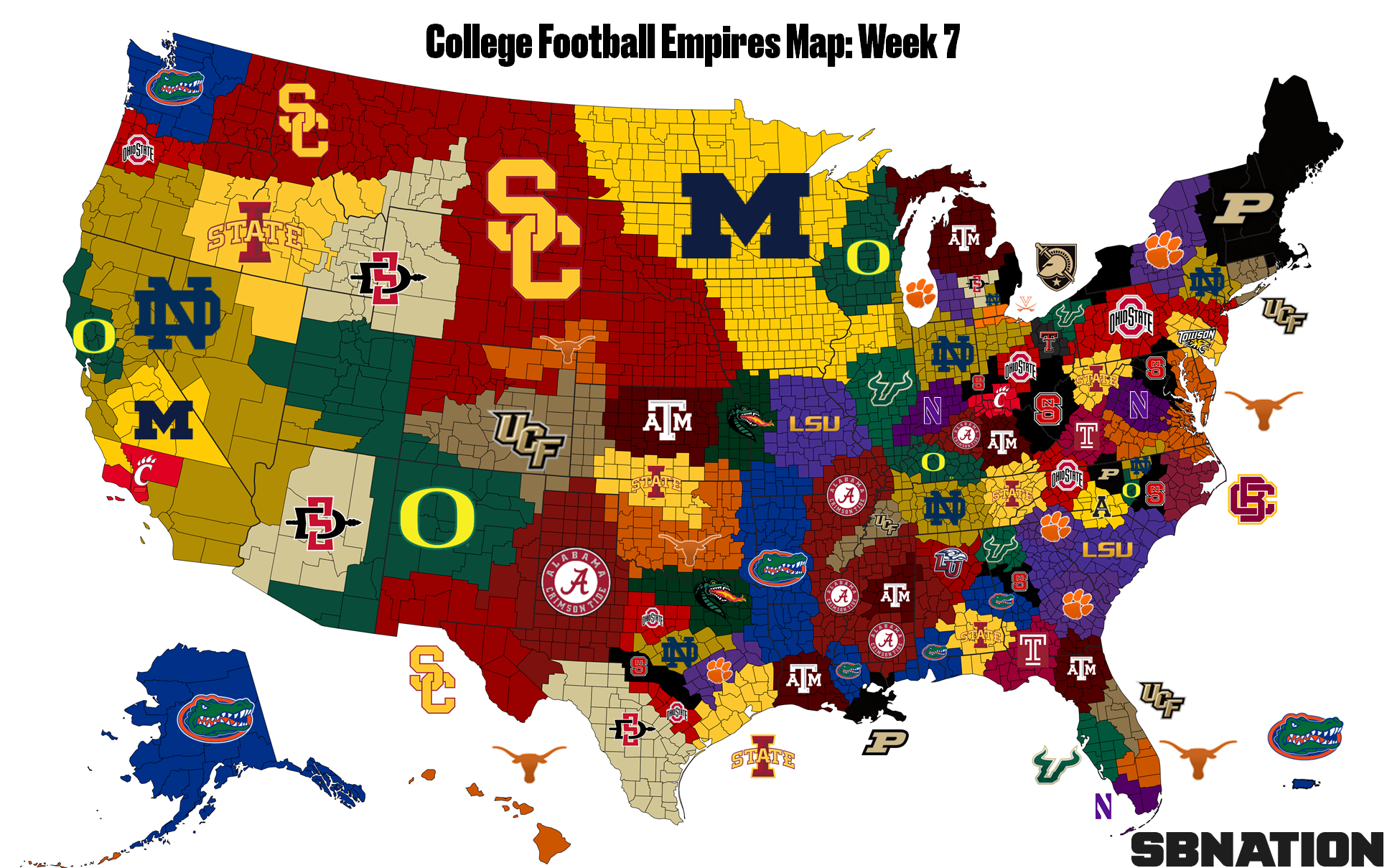 The College Football Empires Map, updated after Week 7 chaos