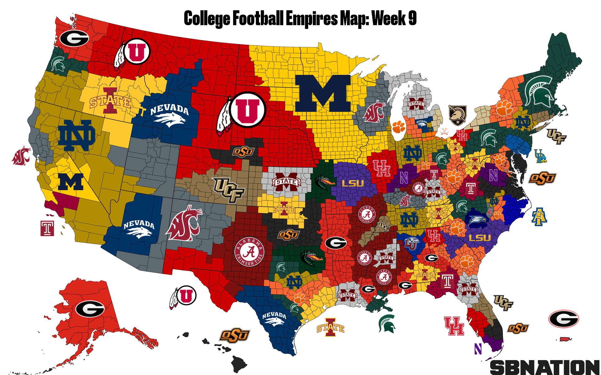 College Football Empires Map: Alabama and Notre Dame advance toward ...