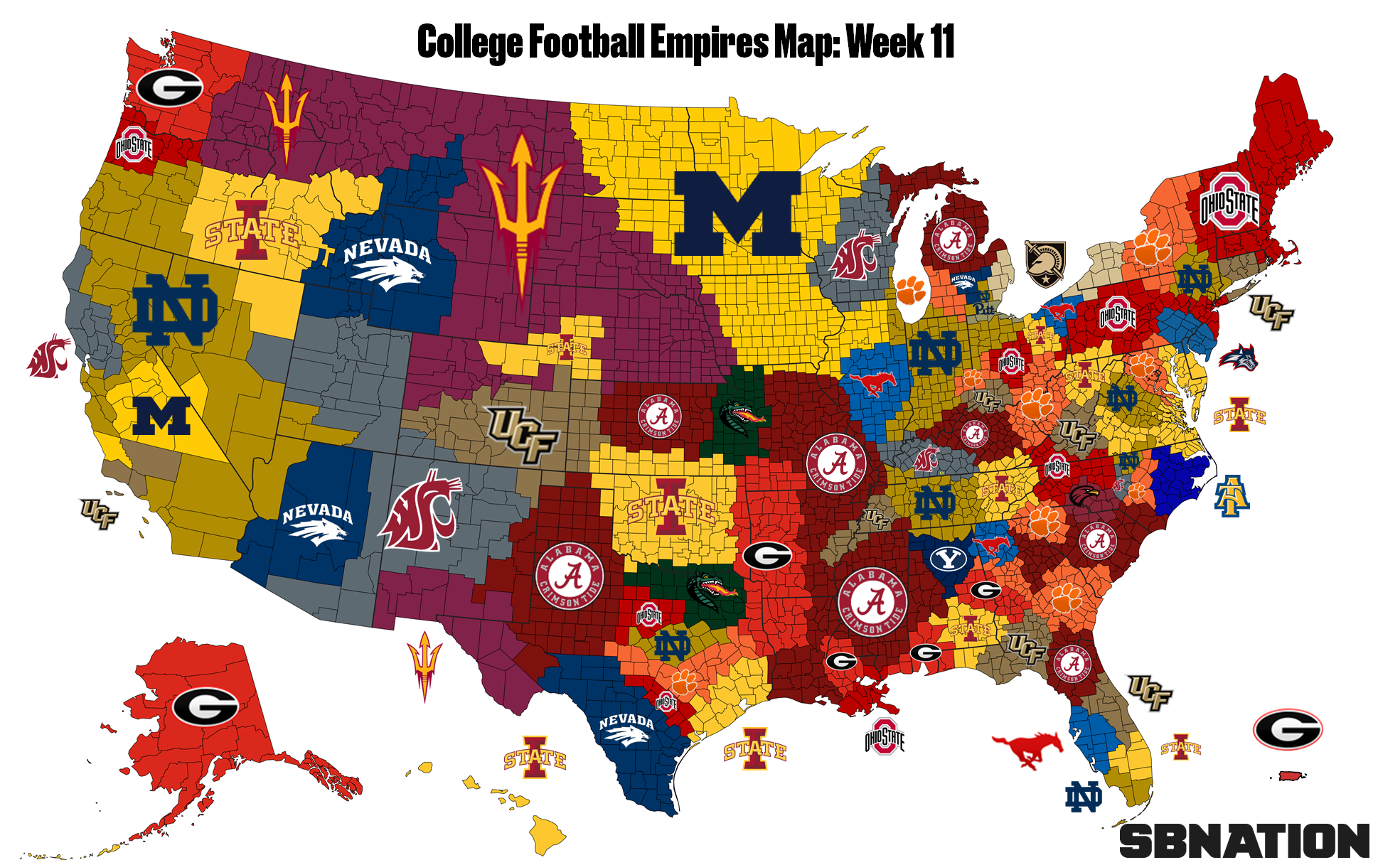 College Football Empires Map, Week 11: Alabama and Iowa State (!) on ...