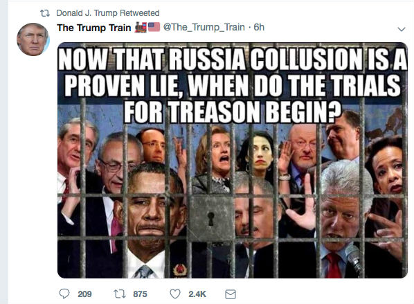 Trump retweets meme calling for imprisonment of his own deputy attorney general