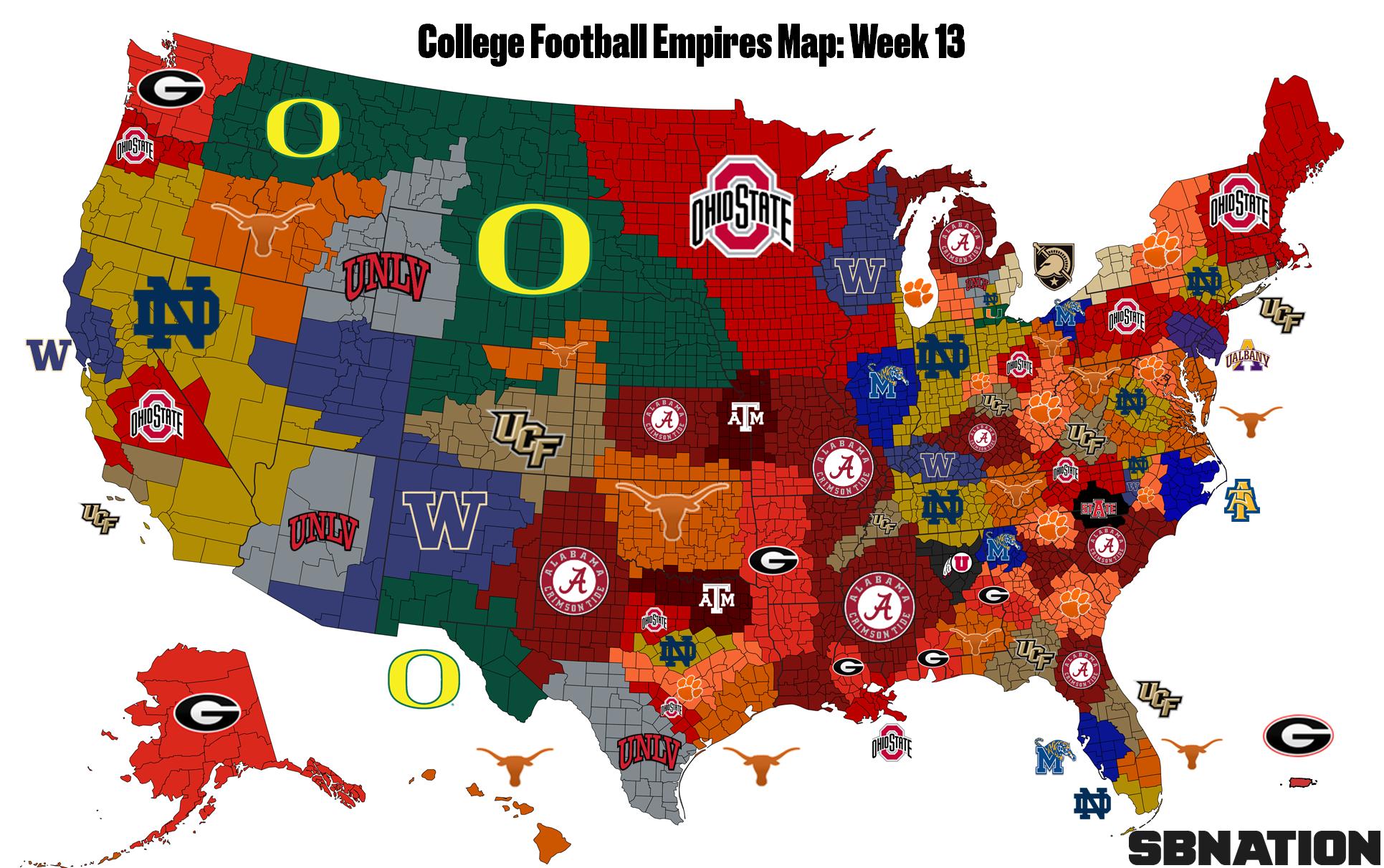 The College Football Empires Map entering bowl season - SBNation com