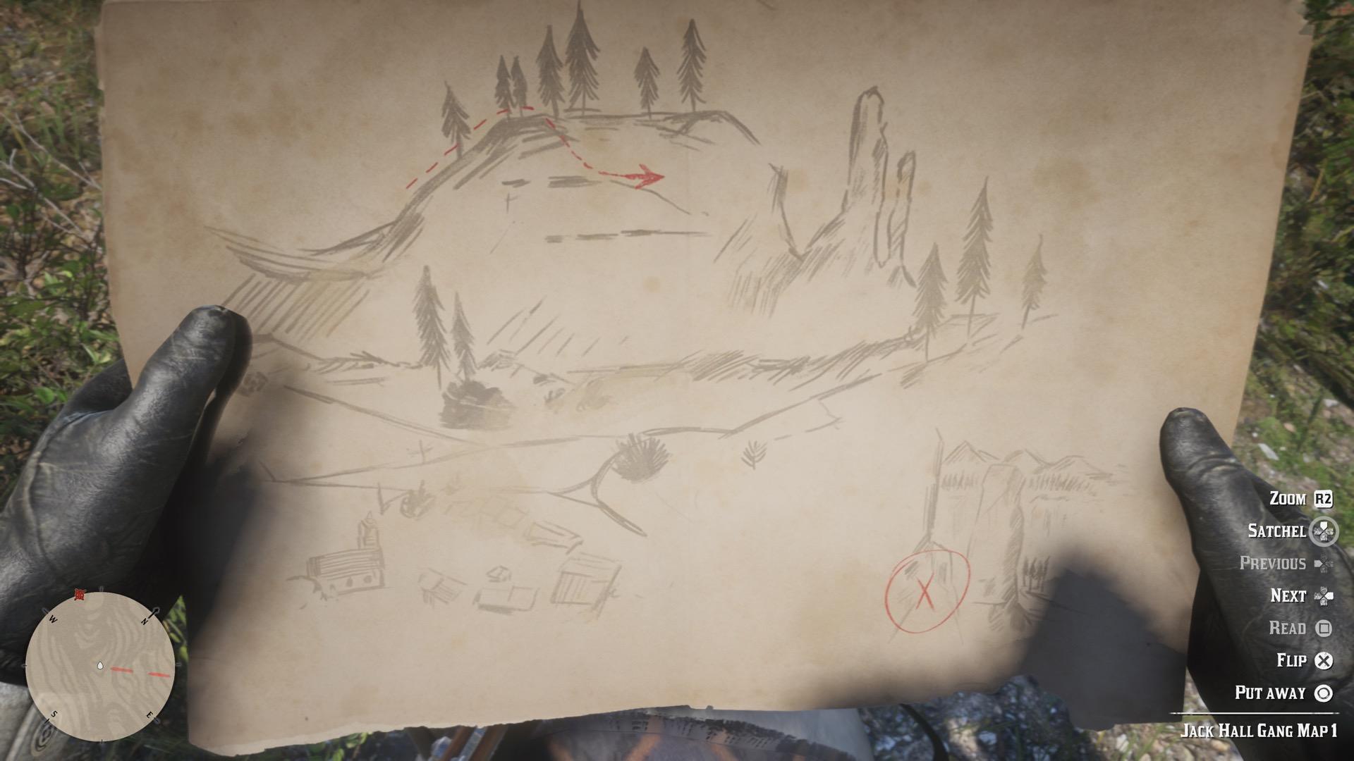 RDR2 Jack Hall Gang Treasure Mission maps, locations and treasure