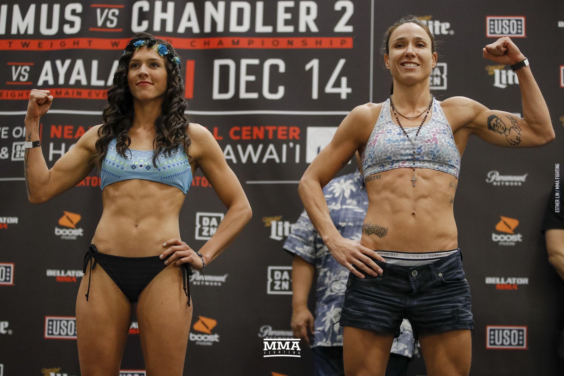 305895c11b Alejandra Lara and Juliana Velasquez pose at Bellator 212 weigh-ins. Esther  Lin