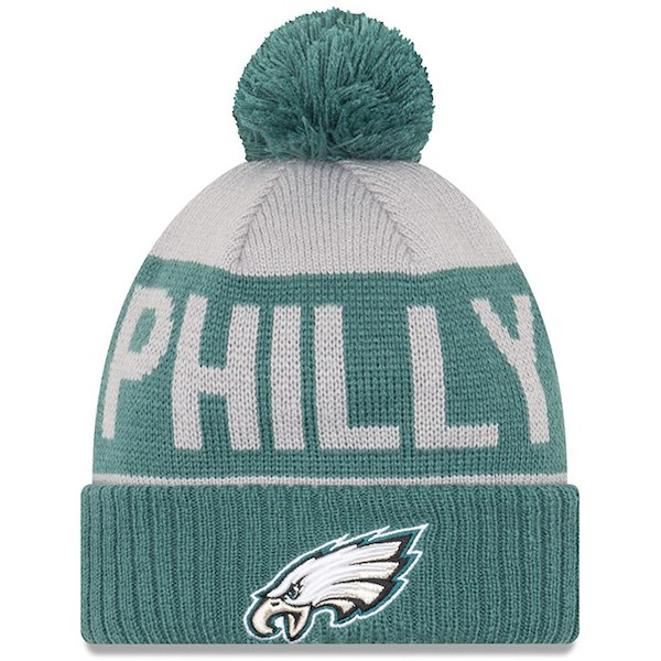 89bfc0415 Eagles New Era Super Bowl LII Champs Cuffed Knit Hat with Pom –  Gray Midnight Green for  22.39 Fanatics