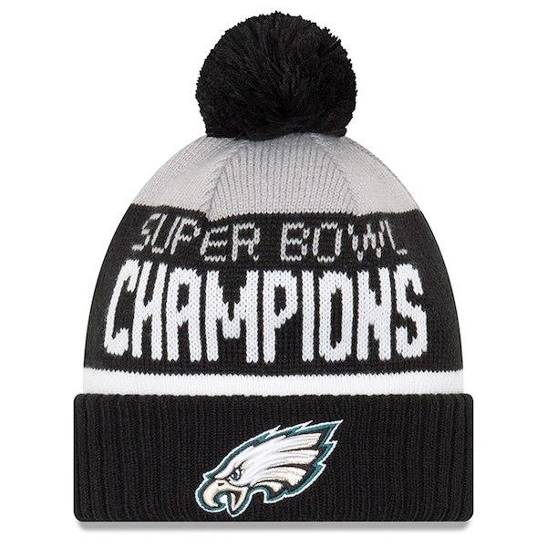 b304c9e64d381 Eagles New Era Super Bowl LII Champs Parade Cuffed Pom Knit Hat –  Gray Black for  23.99 Fanatics