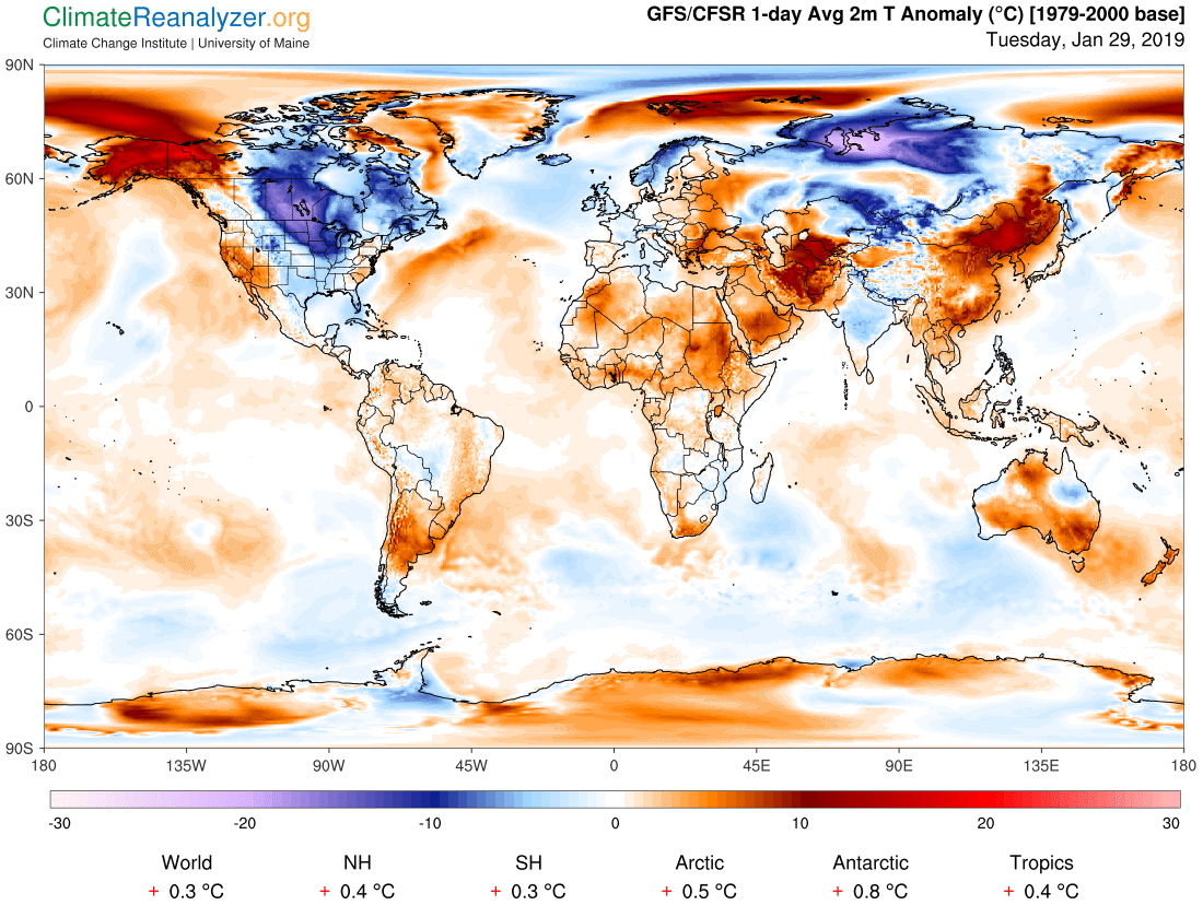 Trump used the polar vortex to mock global warming. This map shows how wrong he is.