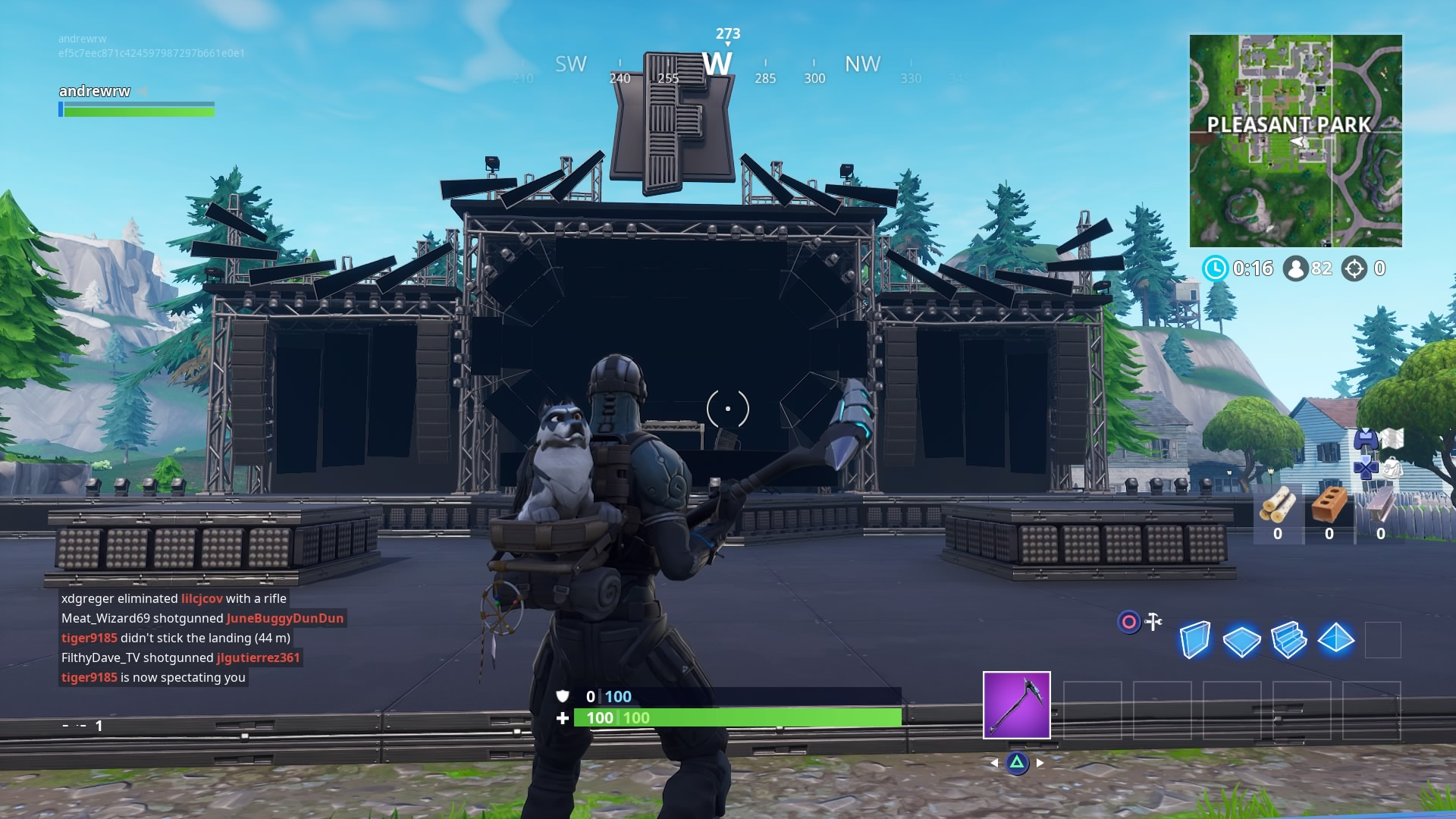 a before and after of the marshmello stage construction - pleasant park fortnite