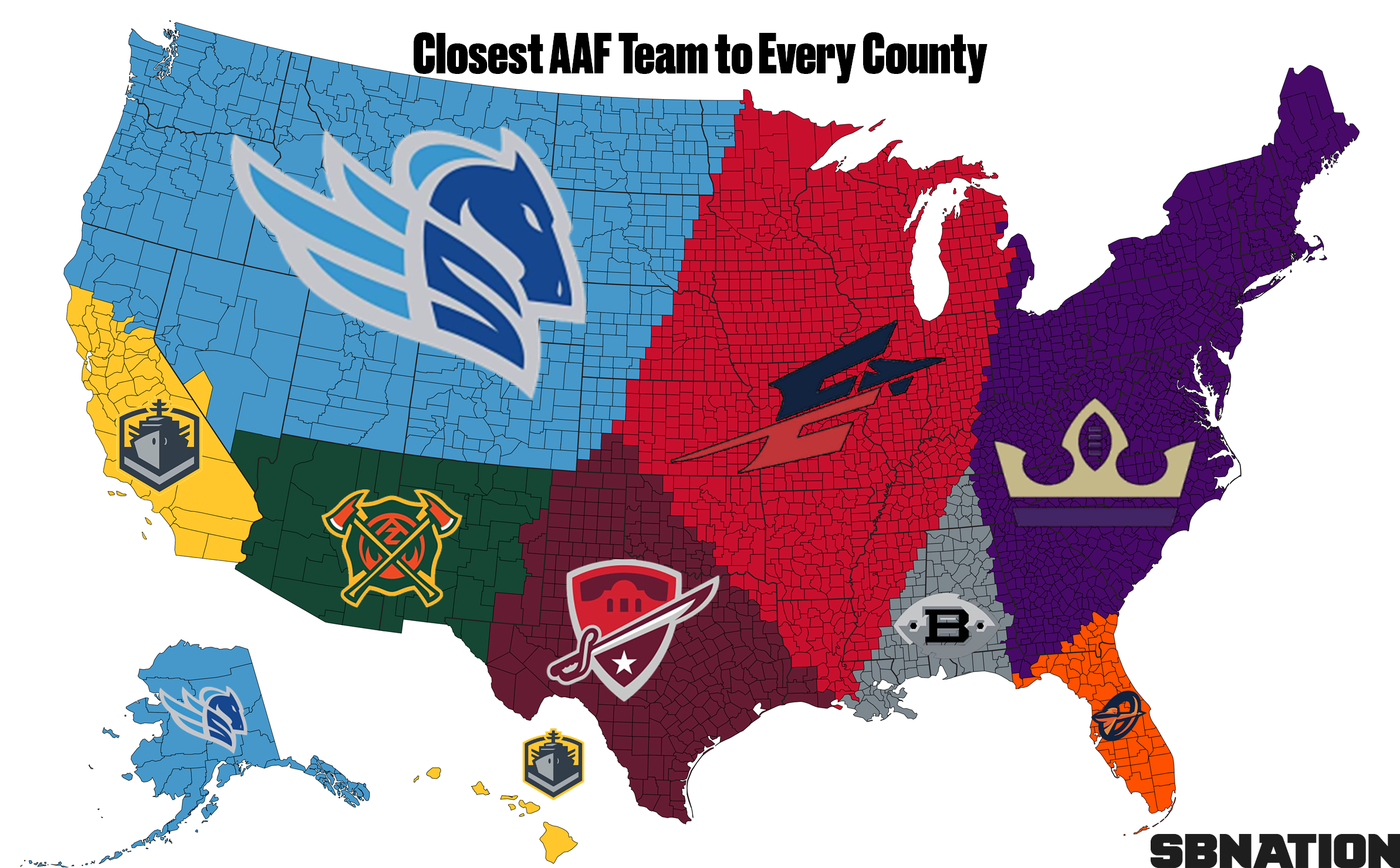 2 maps that might help you decide which AAF team to cheer for