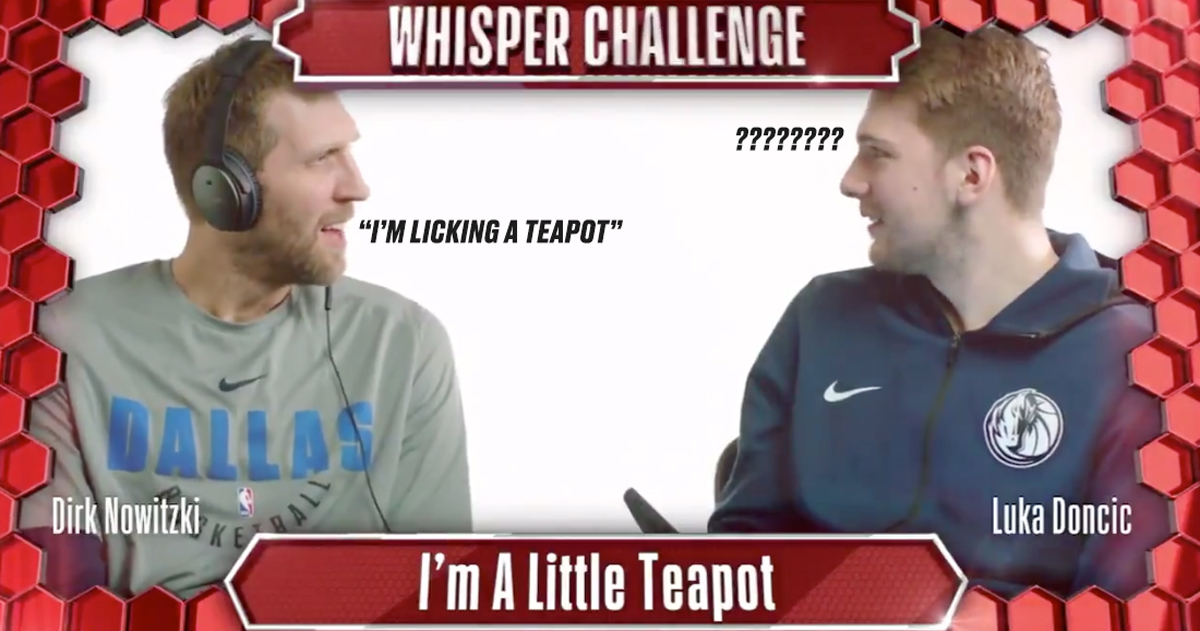 This video of Dirk Nowitzki and Luka Doncic doing the whisper challenge is everything you need