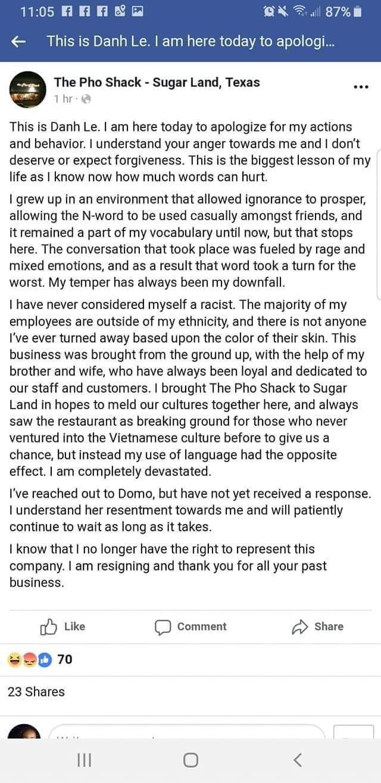 Sugar Land Restaurant Faces Backlash After Owner Hurls Racial Slur At Former Employee