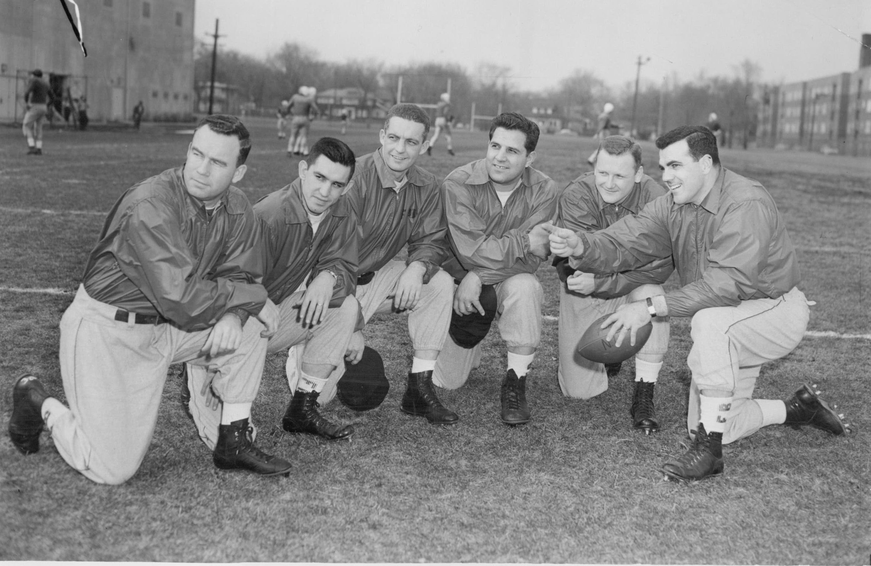 6292d741c06 In 1956, coach Ara Parseghian came to Northwestern. Here he poses with his  assistant coaches. (From left) Paul Shoults, Dick Urich, Bruce Beatty, ...