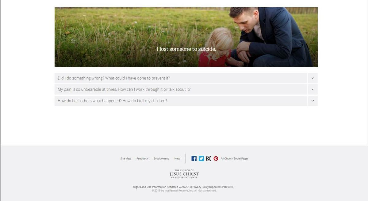 LDS Church launches 'Preventing Suicide' website during
