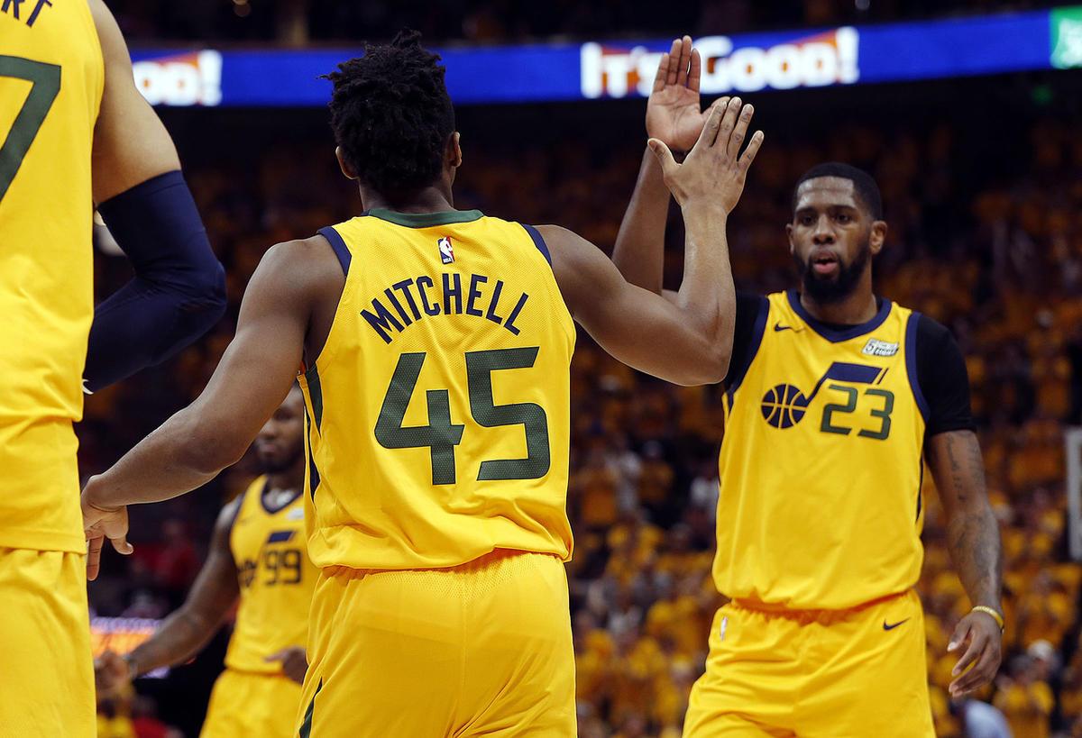 pretty nice 1faf0 11826 Utah Jazz rookies Donovan Mitchell, Royce O'Neale learning ...