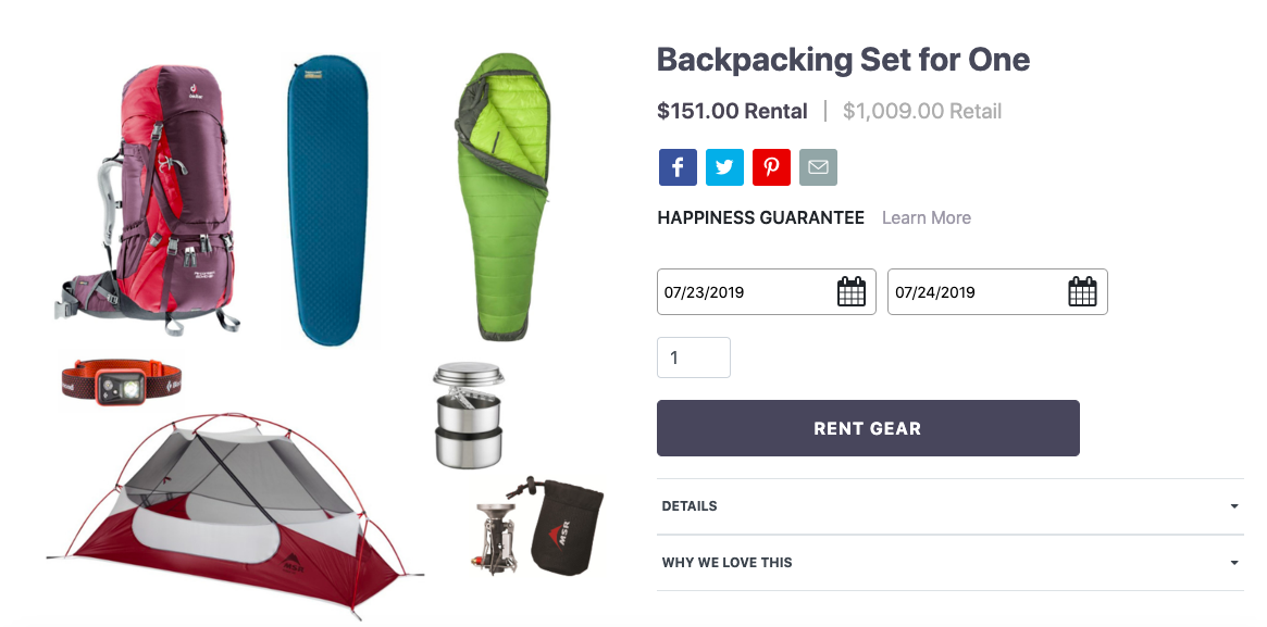 Now you can rent outdoor gear with your campsite